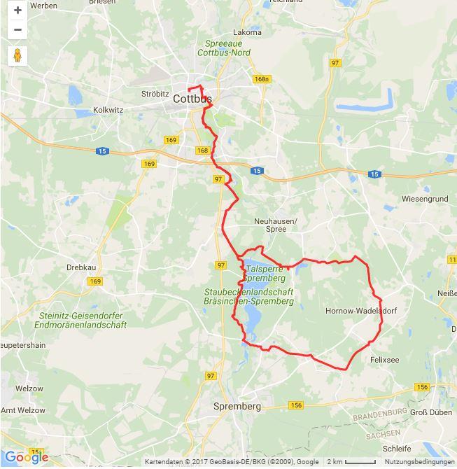 Tourverlauf der Tour Mit dem Fahrrad von Cottbus ins Schokoladenparadies Confiserie Felicitas