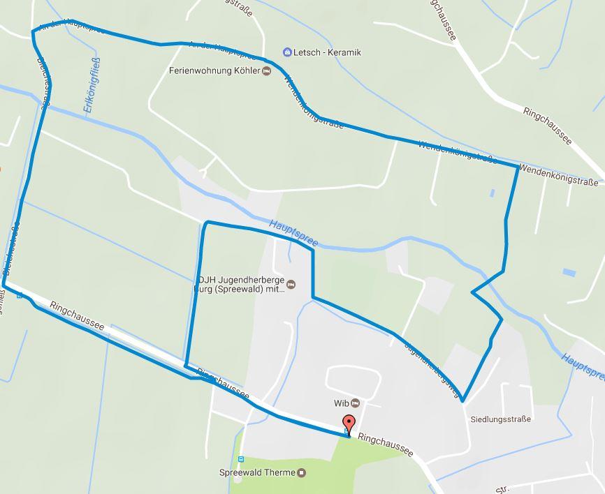 Tourverlauf der Tour Joggingstrecke Burg (Spreewald) – 4,5 Kilometer rund um die Spreewald Therme