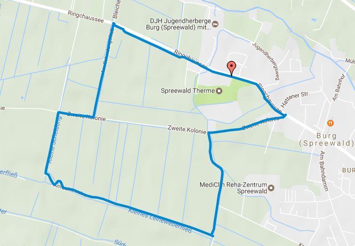 Tourverlauf der Tour Joggingstrecke Burg (Spreewald) – knapp 5 Kilometer rund um die Spreewald Therme