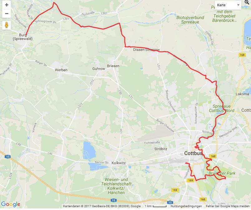 """Tourverlauf der Tour Radtour Cottbus-Burg: """"Kultur erleben"""""""