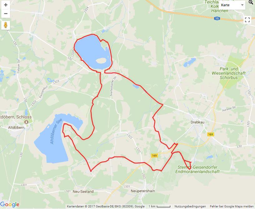 """Tourverlauf der Tour Alternativroute zur Radtour zur Entstehung der """"Steinitzer Alpen"""""""