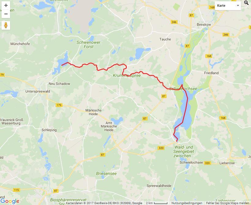 Tourverlauf der Tour Auf der Krummen Spree vom Neuendorfer See zum Schwielochsee