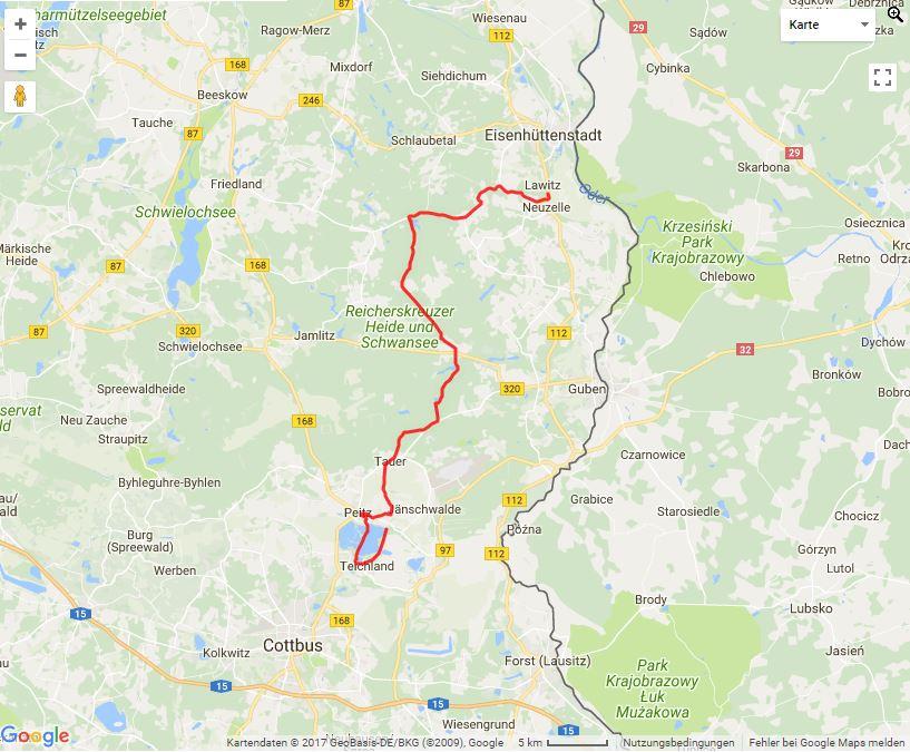 Tourverlauf der Tour Auf der Mönchstour vom Spreewald ins Schlaubetal