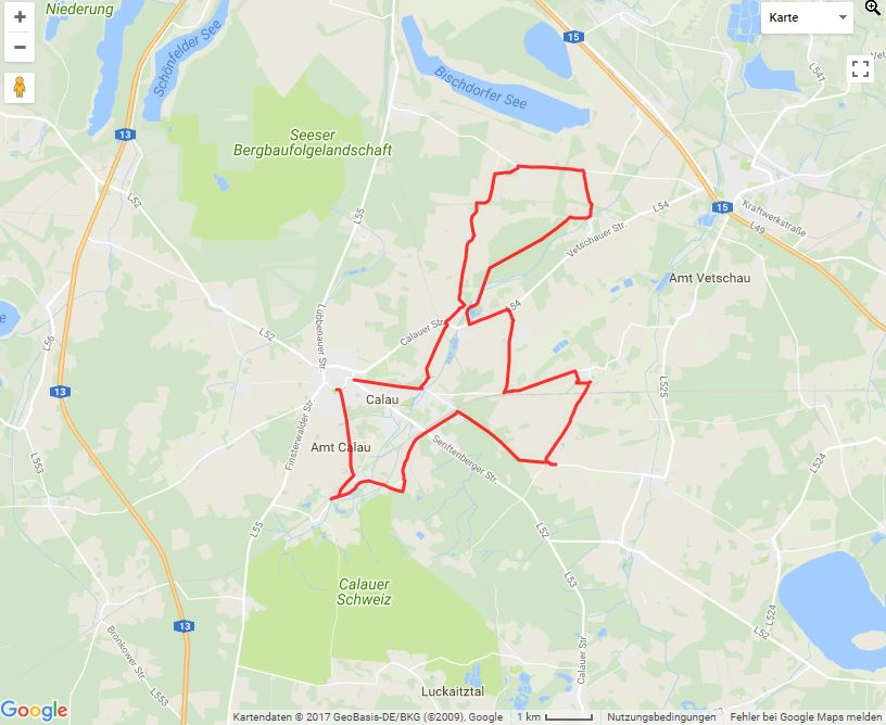 Tourverlauf der Tour Calauer Sagentour: Zu Fuß vorbei am Saßlebener Park und Kirchen