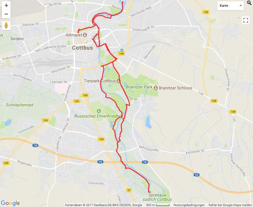 Tourverlauf der Tour Cottbuser Mühlentour