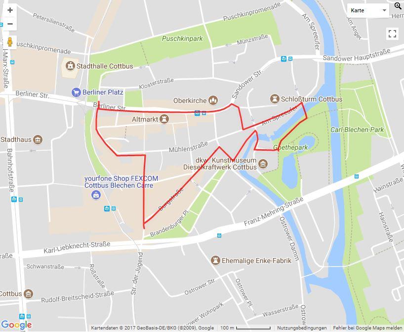 Tourverlauf der Tour Shopping & Erleben – Die Altstadttour durch Cottbus