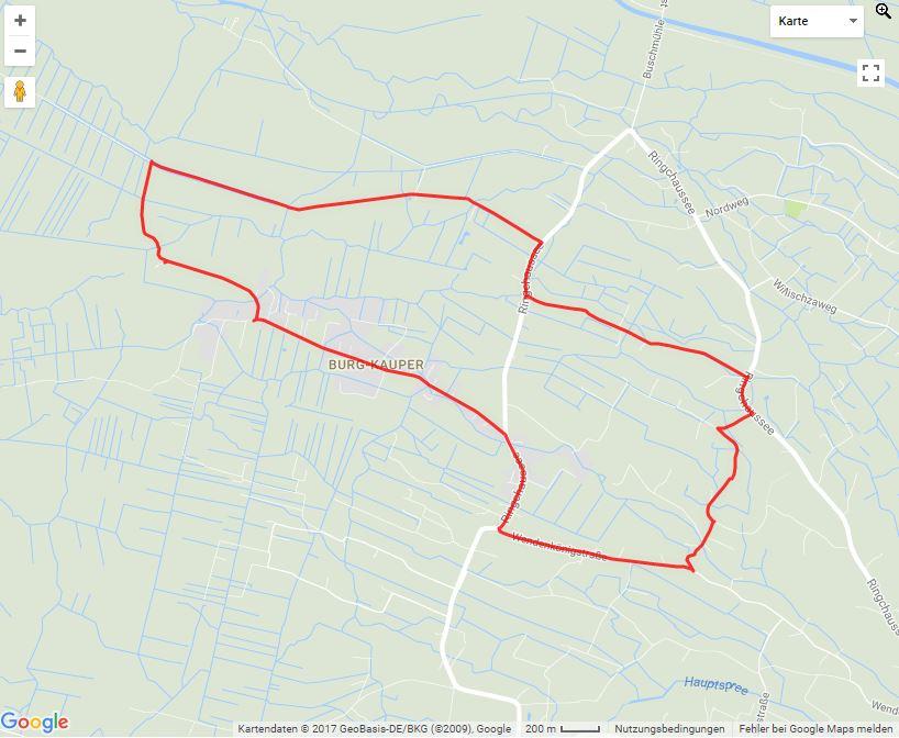 Tourverlauf der Tour Entlang auf dem Fontane-Weg in Burg (Spreewald)