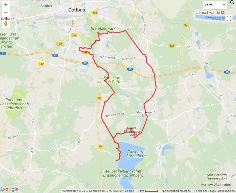 Tourverlauf der Tour Fürst-Pückler-Tour ab Klein Döbbern