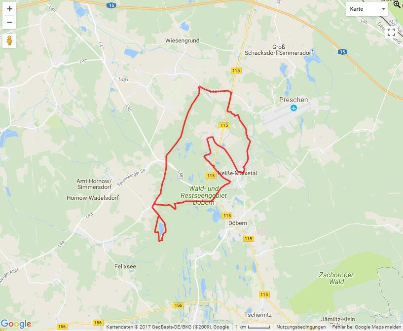 Tourverlauf der Tour Fahrradtour durch den Altbergbau in der Niederlausitz