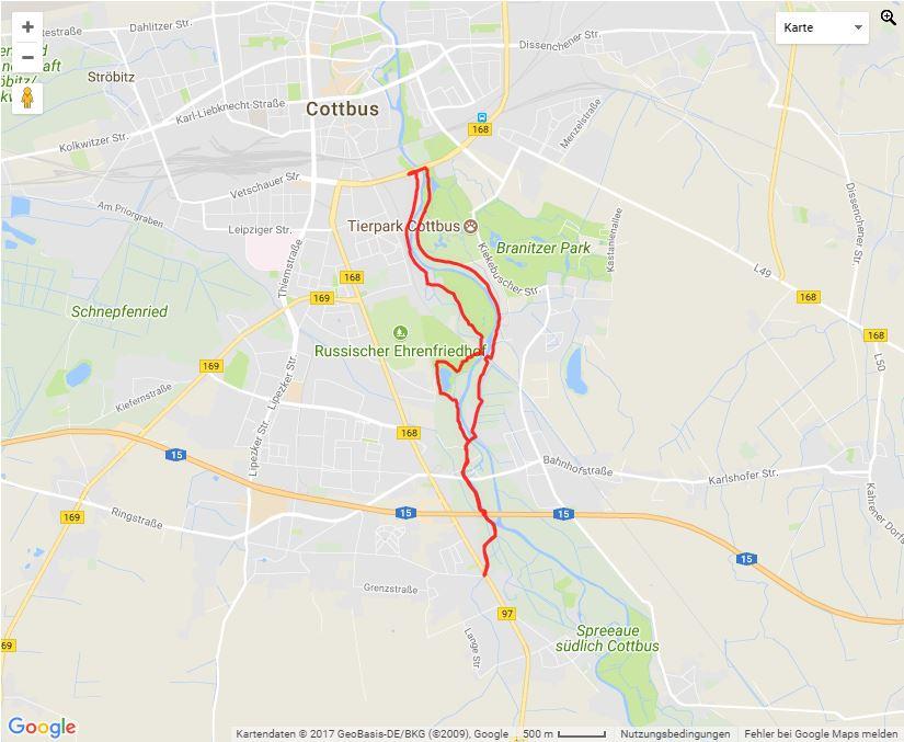 Tourverlauf der Tour Joggingstrecke – Gallinchen – Stadmitte