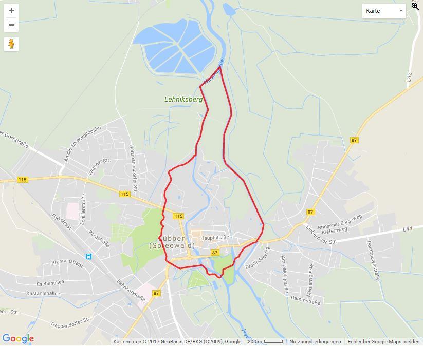 Tourverlauf der Tour Lübbener Drei-Schleusen-Tour