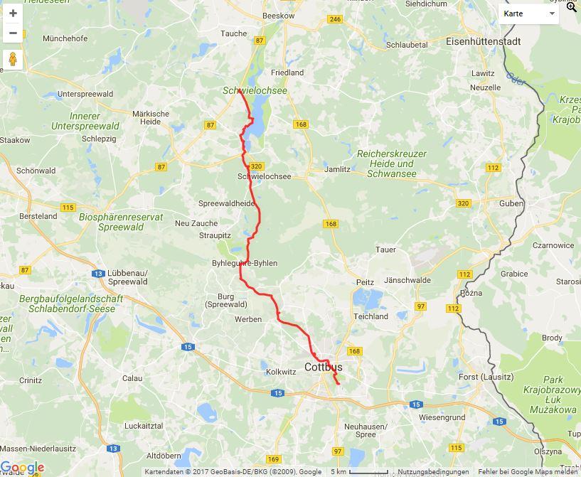 Tourverlauf der Tour Leichhardt-Trail: Mit dem Fahrrad nach Cottbus auf den Spuren Leichhardts