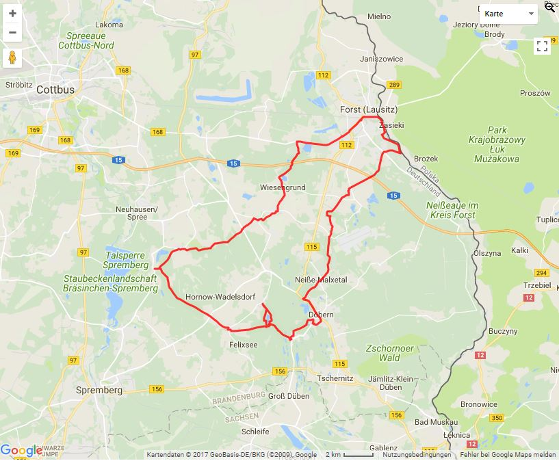 Tourverlauf der Tour Mit dem Rad in die Rosenstadt Forst (Lausitz)
