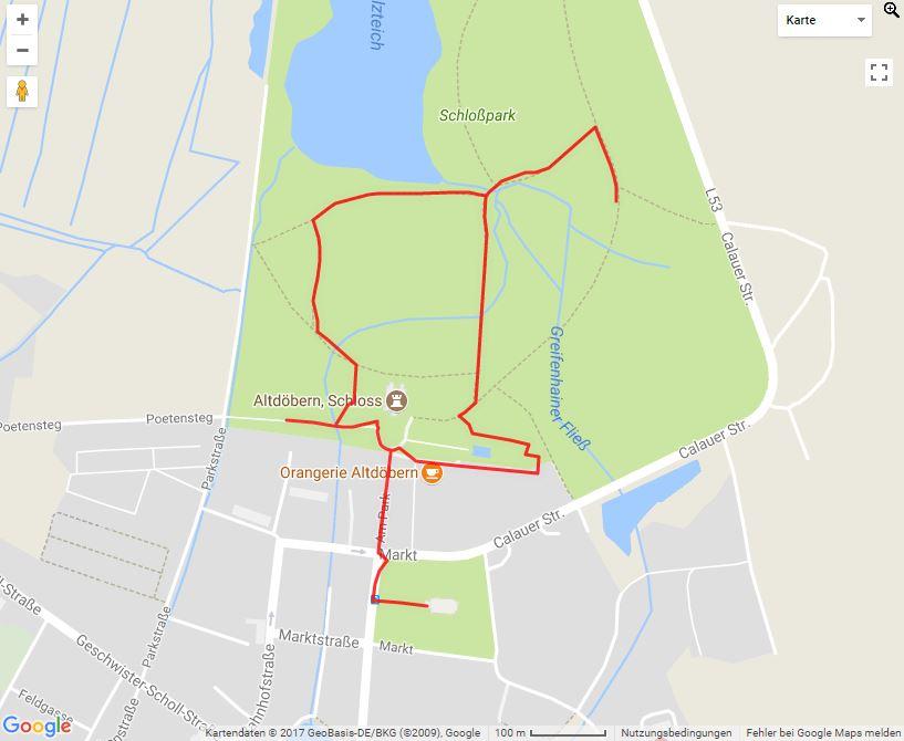 Tourverlauf der Tour Parkrundgang durch den Schlosspark Altdöbern