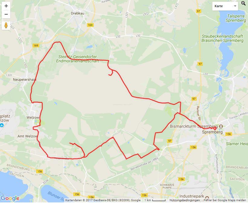 Tourverlauf der Tour Radtour ab Spremberg in die Steinitzer Alpen: Sand-Wasser-Feuer-TOUR