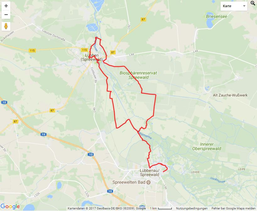 Tourverlauf der Tour PuschTour- Radtour von Lübbenau in den Unterspreewald