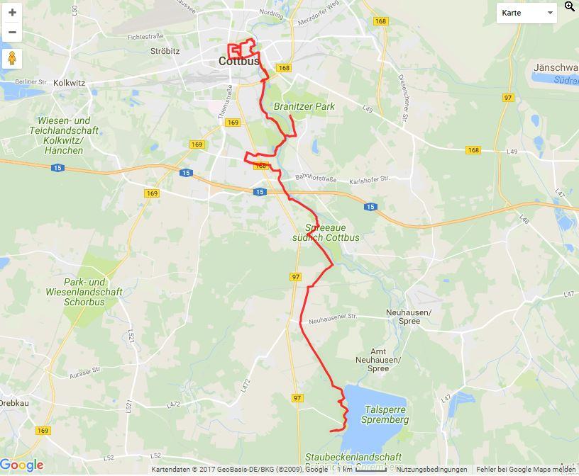 """Tourverlauf der Tour Cottbus """"erfahren"""" – Radtour von Klein Döbbern nach Cottbus"""