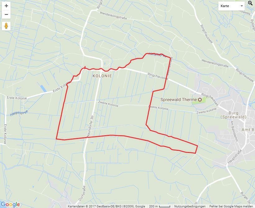 Tourverlauf der Tour Rote Paddeltour: Auf rund 9km um Burg-Kolonie paddeln