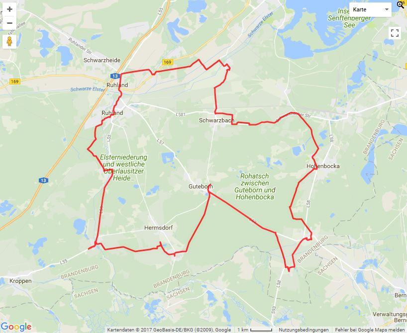Tourverlauf der Tour Ruhland mit dem Fahrrad entdecken