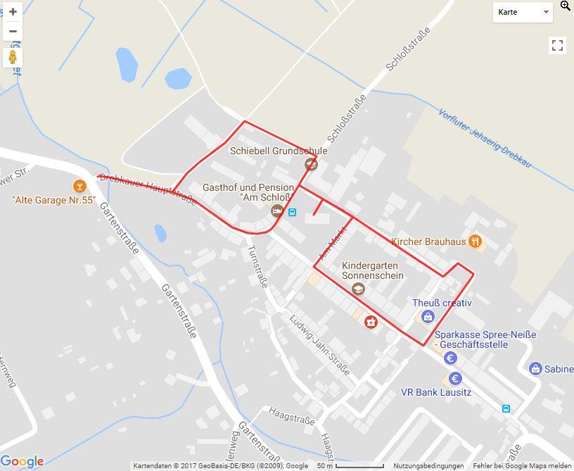 Tourverlauf der Tour Stadtrundgang: Auf Zeitreise durch die Drebkauer Innenstadt