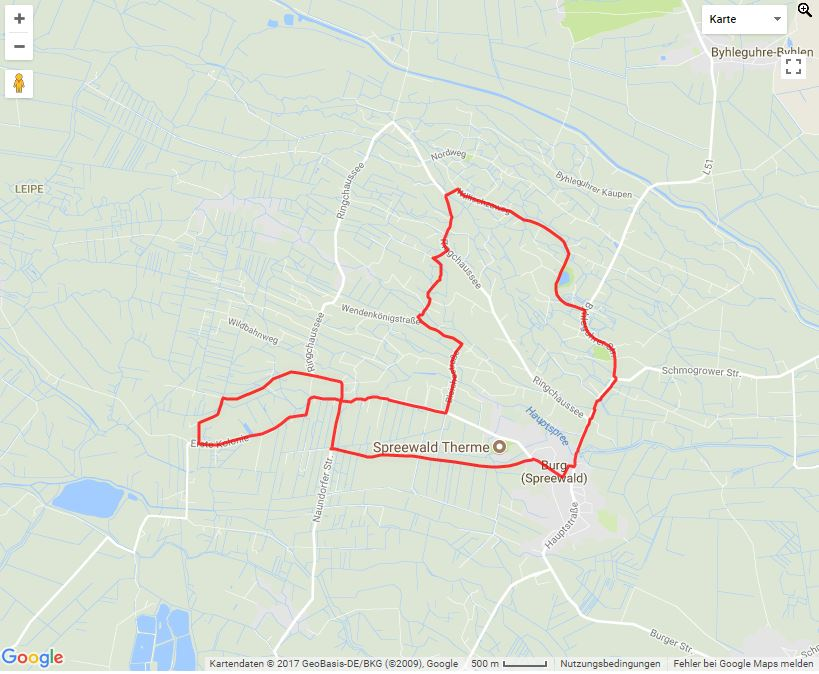 Tourverlauf der Tour Von Burg im Spreewald Blockbohlenhäusern und Streuobstwiesen mit dem Fahrrad entdecken