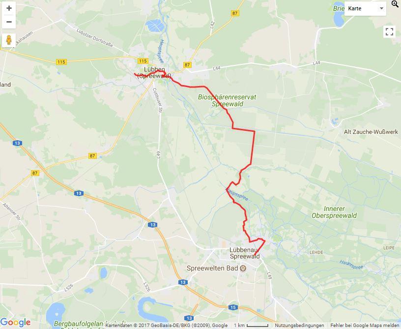 Karte Spreewald Lubbenau.Wanderung Im Spreewald Von Lubben Uber Den Barzlin Nach