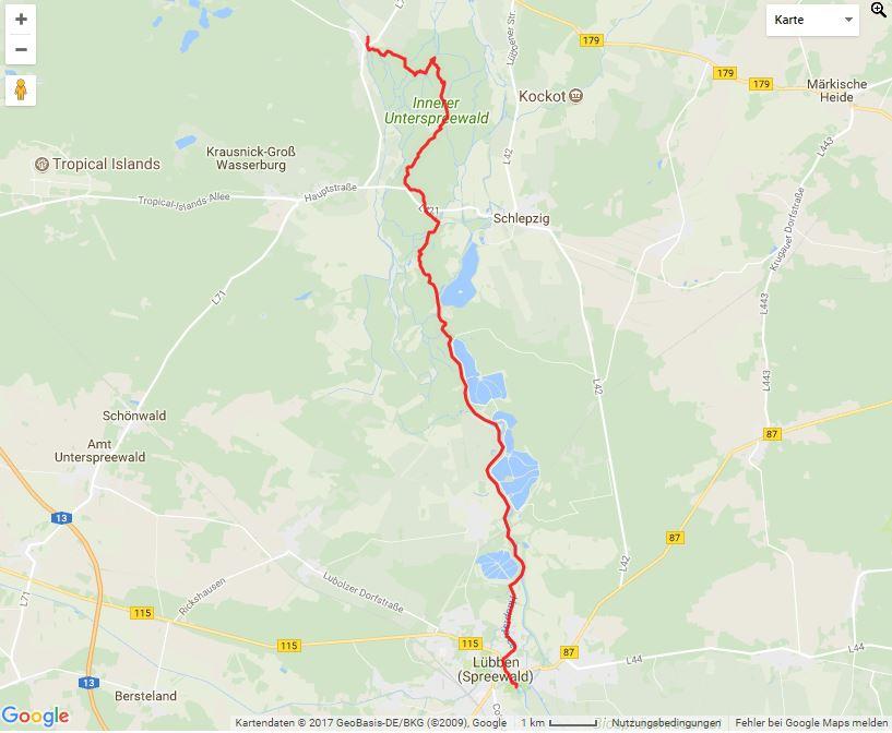 Tourverlauf der Tour Von Lübben auf der Spree nach Groß Wasserburg