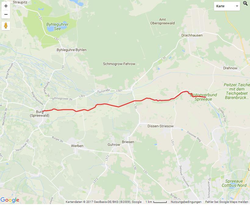 Tourverlauf der Tour Von Maiberg in die Streusiedlung Burg