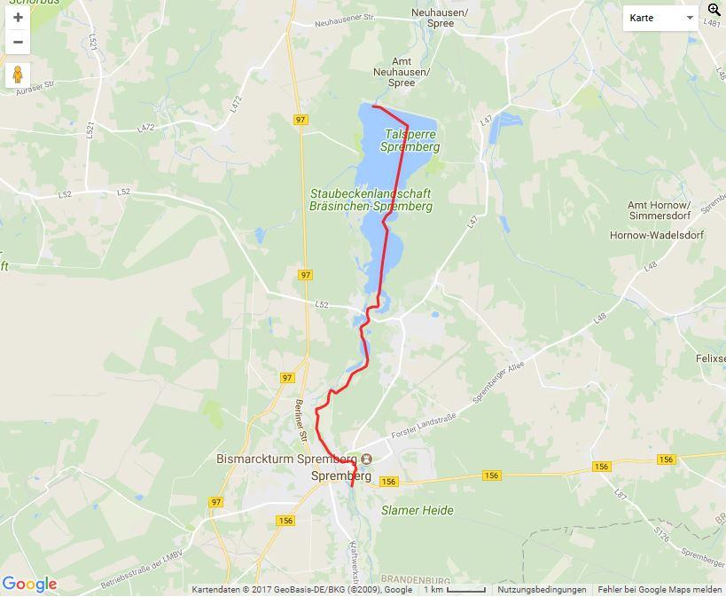 Tourverlauf der Tour Von Spremberg an die Talsperre