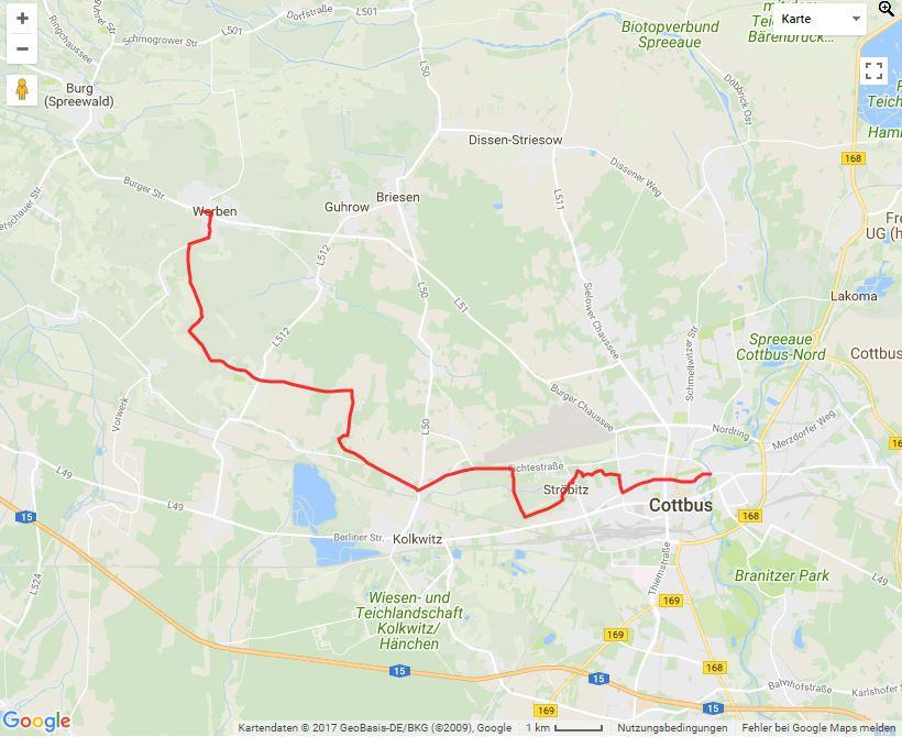 Tourverlauf der Tour Wandern von Werben nach Cottbus in den Altstadtkern
