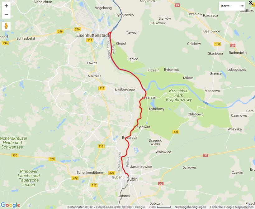 """Tourverlauf der Tour Zwischen """"Hier und Da"""" von Guben nach Fürstenberg"""