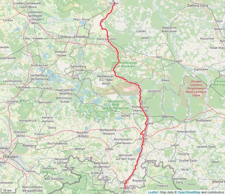 Tourverlauf der Tour Oder-Neiße-Radweg: Von Zittau nach Guben