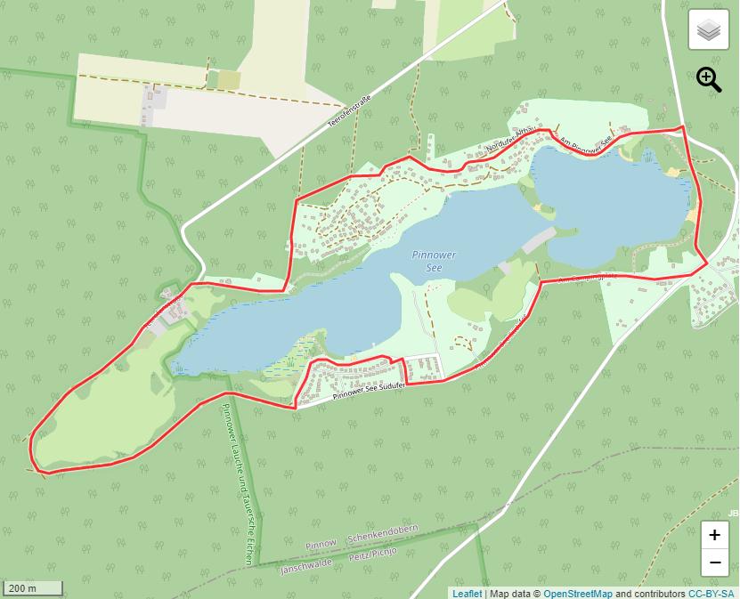 Tourverlauf der Tour Rundwanderung Pinnower See