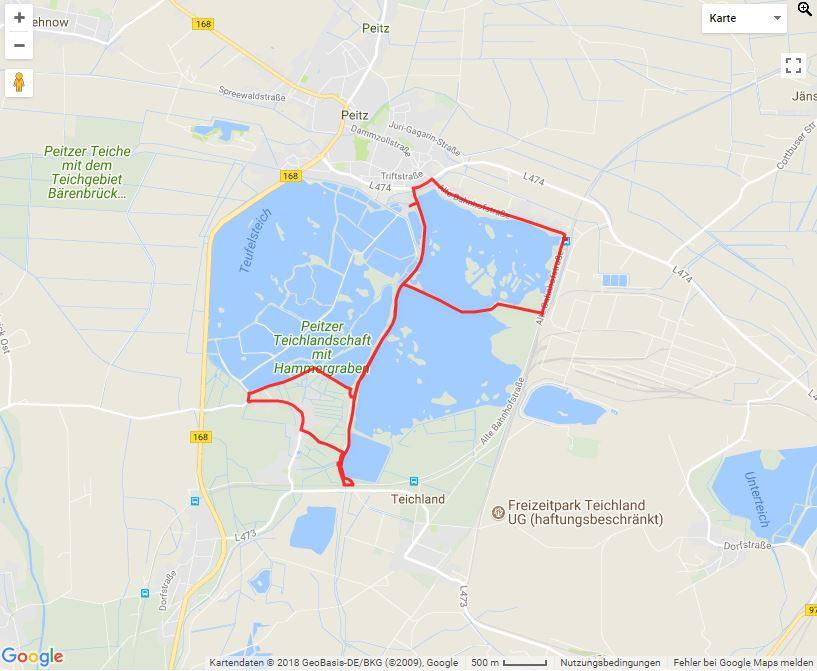 Tourverlauf der Tour Radtour zu den Karpfenwochen – Peitzer Karpfentour