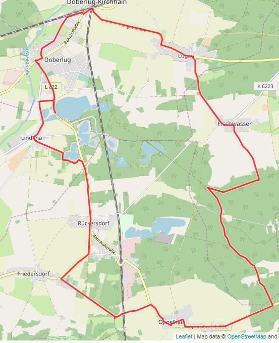 Tourverlauf der Tour 3. Tour: LR auf Tour – Mühlengeschichten rund um Doberlug