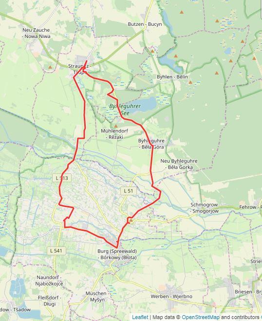 Tourverlauf der Tour 4. Tour: LR auf Tour: Spreewälder Bauerntum