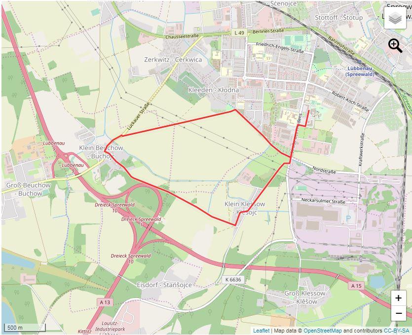 Tourverlauf der Tour Joggingstrecke Lübbenau/Spreewald – 7 Kilometer rund um das Spreewelten-Hotel