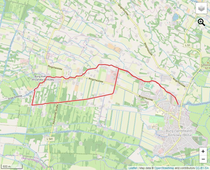 Tourverlauf der Tour Kolonistentour Burg-Burg Kolonie