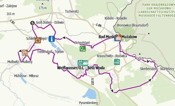 Tourverlauf der Tour Radtour zu den Kulturschätzen im Neisseland