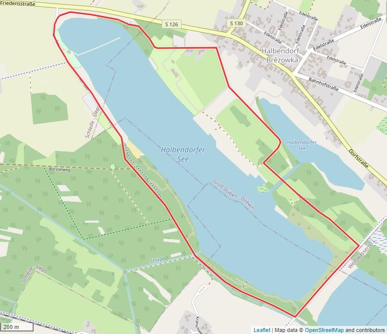 Tourverlauf der Tour Radtour um den Halbendorfer See